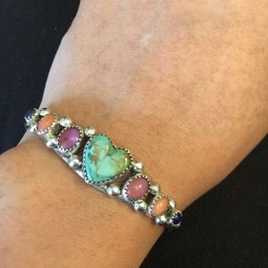 Vintage Native American turquoise heart cuff